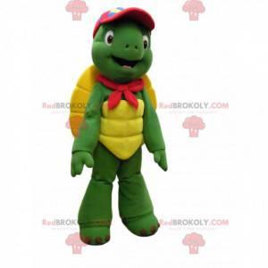 Divertente mascotte tartaruga con un berretto rosso -