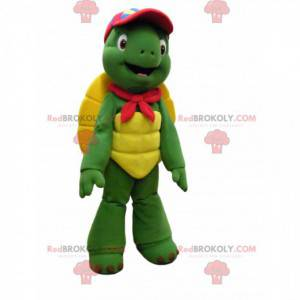 Mascote tartaruga divertida com boné vermelho - Redbrokoly.com