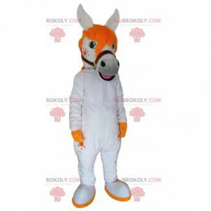 Maskot bílého koně s krásnou oranžovou hřívou - Redbrokoly.com