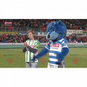 Modrý medvěd maskot v sportovní oblečení - Redbrokoly.com
