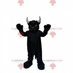 Mascote do touro negro muito bestial com olhos de fogo -