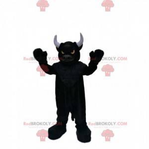 Zeer beestachtige zwarte stier mascotte met vurige ogen -