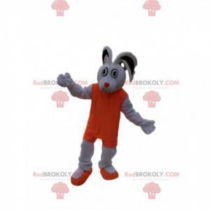 Maskot bílý králík s oranžovým sportovním oblečením -