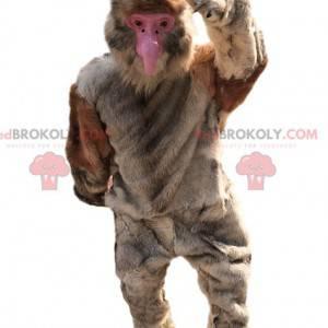 Grande mascote de macaco com pelo bege - Redbrokoly.com