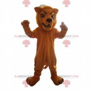 Brown lion mascot with a fierce look - Redbrokoly.com