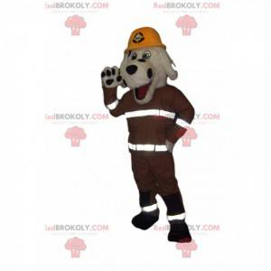 White and black dog mascot with a firefighter outfit -