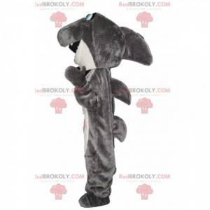 Mascota de tiburón gris y blanco muy feliz - Redbrokoly.com