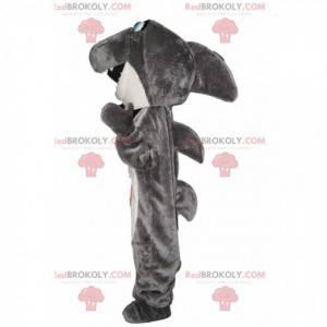 Mascote tubarão cinza e branco muito feliz - Redbrokoly.com