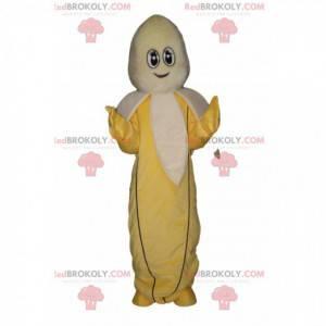 Mascotte banana con uno sguardo accattivante e un sorriso -