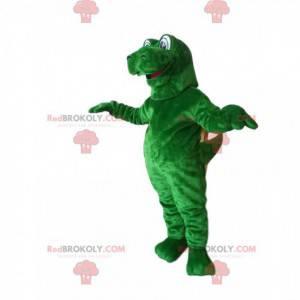 Mascote gigante de dinossauro verde com olhos protuberantes -