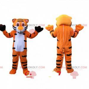 Sehr glückliches orange und schwarzes Tigermaskottchen -