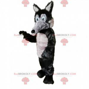 Gray and black wolf mascot with a long muzzle - Redbrokoly.com