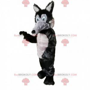 Grijze en zwarte wolf mascotte met een lange snuit -