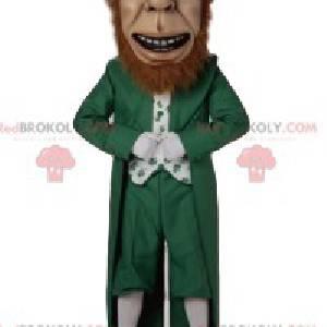 Mascot happy leprechaun with a beautiful red beard -