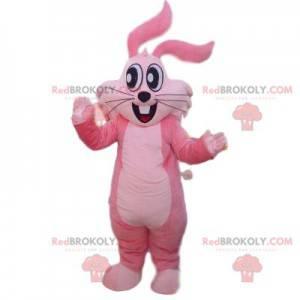 Super šťastný růžový králík maskot s velkýma očima -