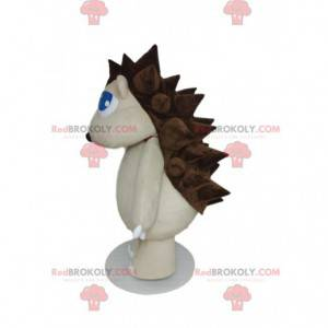 Mascote ouriço branco com penas marrons - Redbrokoly.com