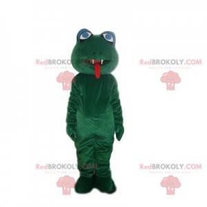 Grünes Froschmaskottchen mit zwei scharfen Zähnen -