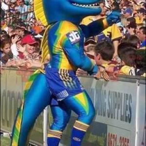 Blå gul og grønn dinosaur maskot - Redbrokoly.com