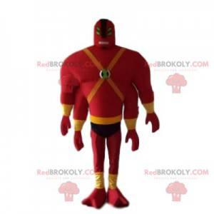 Maskot muž v červené barvě se čtyřmi rukama a čtyřmi očima -