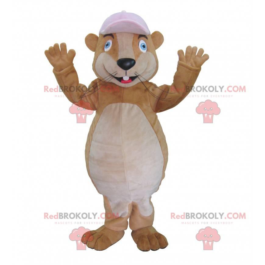 Braunes Murmeltier Maskottchen mit einer Kappe - Redbrokoly.com
