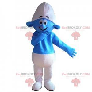 Blauw-witte smurfmascotte met een grote glimlach -