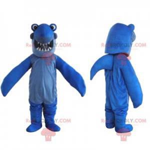 Mascotte squalo blu con un sorriso ampio e bello -