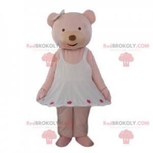 Cremebär Maskottchen mit einem sehr süßen weißen Kleid -