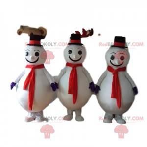 Trio di mascotte pupazzo di neve con cappello nero -