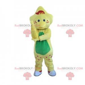 Mascote de dinossauro amarelo pálido com maçãs do rosto