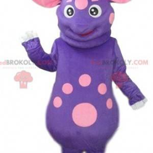 Fioletowo-różowa maskotka kosmita z czterema uszami -