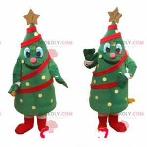 Mascote da árvore verde decorado com guirlandas e uma estrela