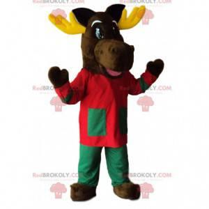 Mascote de rena com uma linda roupa vermelha e verde -