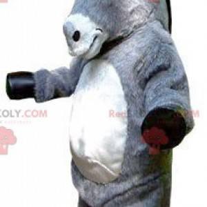 Obří šedý a bílý osel maskot - Redbrokoly.com