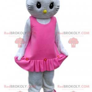 Hello Kitty maskot med en elegant lyserød kjole med fløjl -