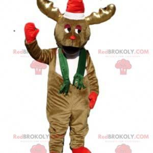 Mascota del reno marrón congelado con un sombrero de Navidad -