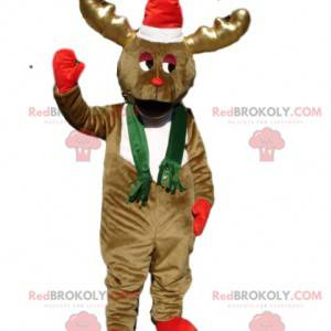 Mascotte congelata della renna marrone con un cappello di