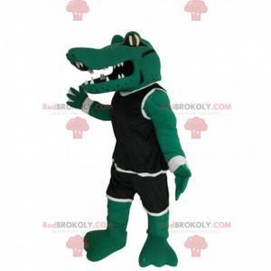 Mascote crocodilo com roupa esportiva preta - Redbrokoly.com