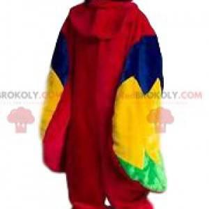 Mascotte multicolore molto sorridente del pappagallo -