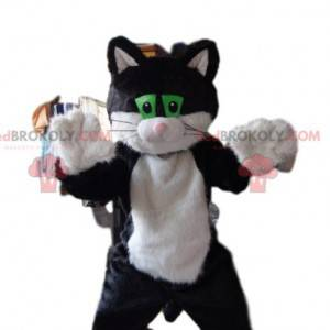 Svart og hvit kattemaskot med grønne øyne - Redbrokoly.com