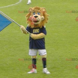 Brown lion mascot in sportswear - Redbrokoly.com