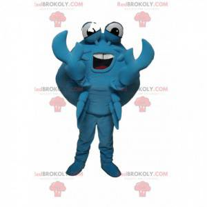Meget munter maskot med blå krabbe. Krabbe kostume -
