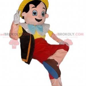 Mascota alegre de Pinocho con un sombrero amarillo -