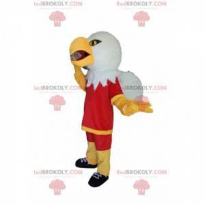 Maskot orel skalní s červeným sportovním oblečením -