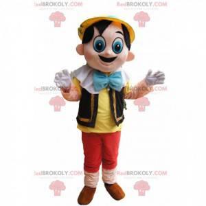 Roztomilý Pinocchio maskot s velkýma modrýma očima -