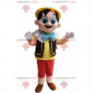 Schattige Pinocchio-mascotte met grote blauwe ogen -