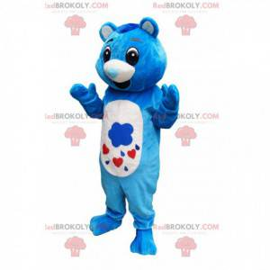 Modrý a bílý medvěd maskot s tlamou ve tvaru srdce -
