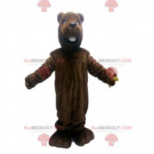 Mascotte castoro marrone. Costume da castoro marrone -