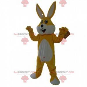 Super happy yellow and white rabbit mascot - Redbrokoly.com
