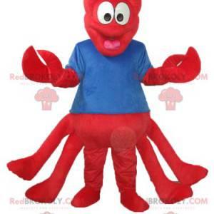 Rød hummermaskot med blå trøye - Redbrokoly.com