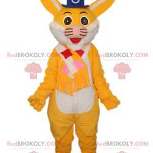 Maskot žlutá kočka s modrým kloboukem - Redbrokoly.com